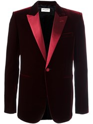Saint Laurent Iconic 'Le Smoking' 70'S Velour Jacket Red