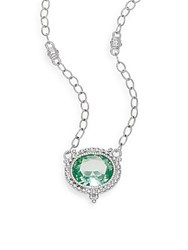 Judith Ripka La Petite Paraiba Spinel And Sterling Silver Pendant Necklace