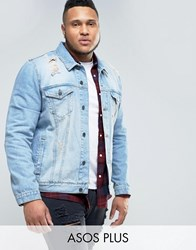 Asos Plus Denim Jacket In Mid Wash With Rips Mid Wash Blue