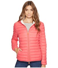 Save The Duck Basic Hooded Nylon Jacket Paradise Red Women's Coat Mahogany