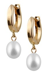 14K Yellow Gold 6 6.5Mm White Cultured Freshwater Pearl Dangle Earrings