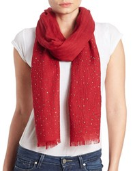 Lord And Taylor Wool Embellished Scarf Red