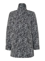 Tigi Leaf Print Coat Black