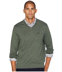 Nautica 12 Gauge Jersey V Neck Sweater Pine Forest Heather Green