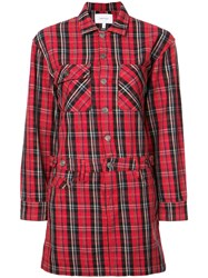 Current Elliott Plaid Shirt Dress Red