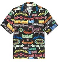 Gucci Camp Collar Printed Silk Shirt Black