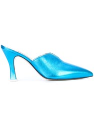 Attico Morena Pointed Toe Mules Blue
