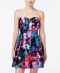 B. Darlin B Juniors' Strapless Floral Print Fit And Flare Dress Multi Color