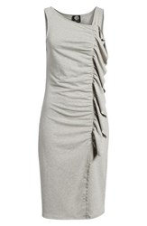 Bobeau French Terry Ruffle Front Dress Heather Grey