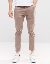 Asos Skinny Cropped Jeans With Extreme Knee Rips In Light Brown Pine Bark
