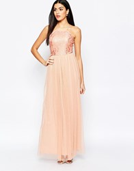 Rare Maxi Dress With Lace Top And Skirt In Glitter Fabric Beige