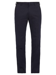 Paul Smith Slim Fit Cotton And Linen Blend Trousers Navy