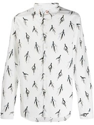 Paul Smith Ps Graphic Floral Pattern Shirt White
