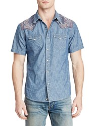 Denim And Supply Ralph Lauren Short Sleeve Cowboy Chambray Shirt Antique Chambray