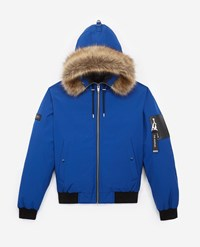 The Kooples Cropped Blue Nylon Down Jacket With Hood