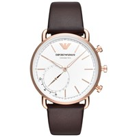 Emporio Armani Connected Art3029 'S Aviator Hybrid Leather Strap Smartwatch Brown White