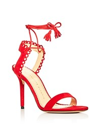 Charlotte Olympia Salsa Ankle Tie High Heel Sandals Real Red