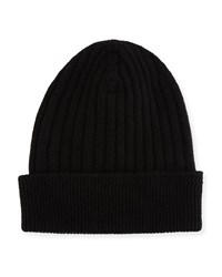 Tom Ford Ribbed Cashmere Beanie Hat Black