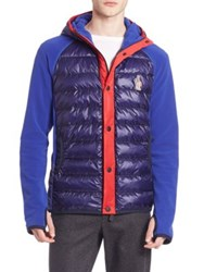 Moncler Colorblock Puffer Front Hooded Jacket Dark Blue