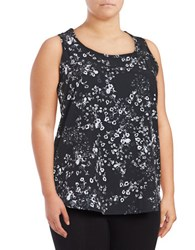 Marc New York Printed Mesh Accented Active Tank Top Black