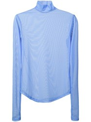 Nomia Long Sleeve Sheer Top Blue