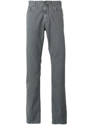 Canali Plain Straight Leg Jeans Grey