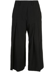 Y's Panelled Cropped Trousers Black