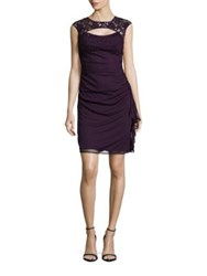 Betsy And Adam Cutout Lace Accented Ruched Empire Waist Dress Eggplant