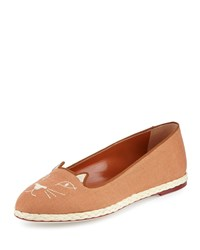 Charlotte Olympia Capri Cats Linen Espadrille Flat Earthy Brown Size 38.5B 8.5B