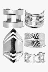 Boohoo Mixed Chevron Adjustable Ring Pack Silver
