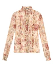 Alexander Mcqueen Medieval Floral Silk Georgette Blouse Yellow Multi