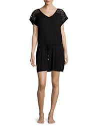 Calvin Klein Pocketed Jersey Shift Cover Up Dress Black