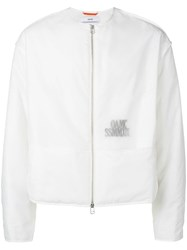 Oamc Collarless Translucent Logo Jacket White