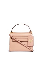 Valentino 'My Rockstud' Small Top Handle Leather Bag Pink Neutral