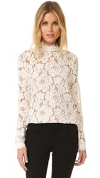 Wayf Berklin Lace Long Sleeve Top Ivory