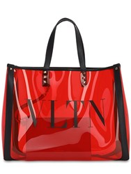 Valentino Logo Tote Bag W Leather Details Rouge Pur