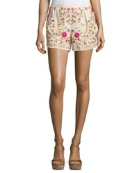 Haute Hippie Floral Embroidered Shorts Buff Multi