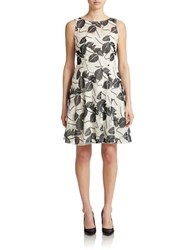 Eva By Eva Franco Harpers Fit And Flare Leaf Shadow Dress White Grey