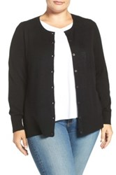 Sejour Wool And Cashmere Crewneck Cardigan Plus Size Black