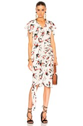 Marni Printed Short Sleeve Dress In Floral White Floral White