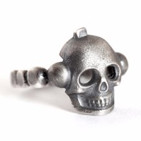 Mad Men Jewelry Sterling Silver Skull Ring Black Silver