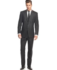 Andrew Marc New York Marc New York By Andrew Marc Charcoal Chalk Stripe Flannel Trim Fit Suit