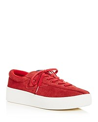 Tretorn Nylite Bold Perforated Nubuck Leather Lace Up Platform Sneakers Red