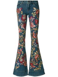 Alice Olivia Embroidered Flared Jeans Cotton Polyester Spandex Elastane Lyocell Blue