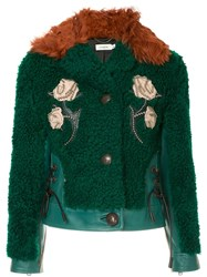Coach Embellished Shearling Jacket Green