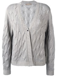 Cruciani Cable Knit Cardigan Nude Neutrals