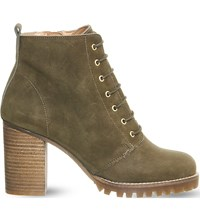 Office Loose Lipped Lace Up Ankle Boots Khaki Nubuck