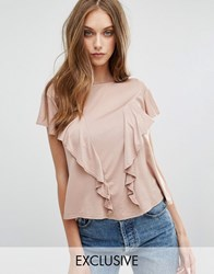 Missguided Exclusive Ruffle Front T Shirt Taupe Grey