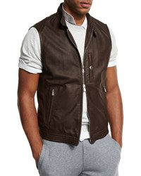 Brunello Cucinelli Lamb Leather Moto Vest Brown