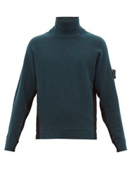 Stone Island Shadow Project Funnel Neck Colour Block Sweater Black